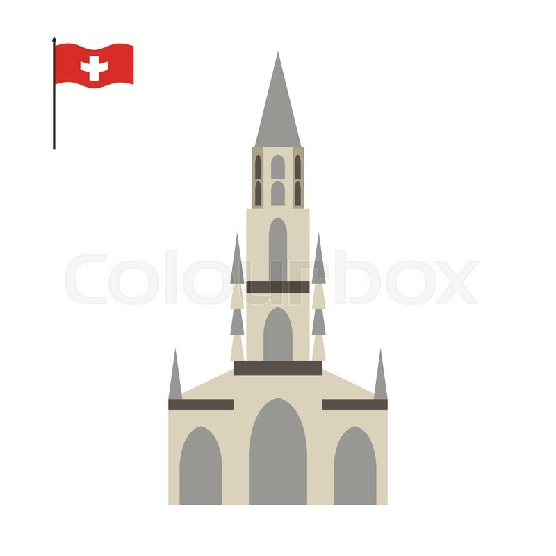 Berne Cathedral. landmark of Switzerland. Architecture attraction of country. Vector illustration , vector