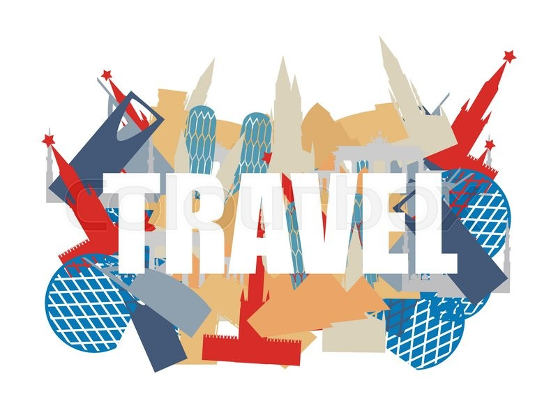 Travel. Text on background silhouettes attractions of countries. World Landmarks. Building of various States and countries: Russia and Italy, Germany and U.A.E.. Vector illustration, vector