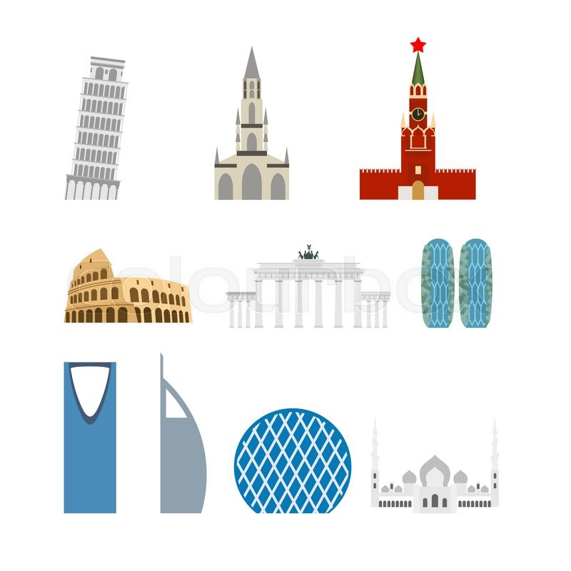 Set landmark Germany, Russia. Attraction of Dubai, Rome. Architecture attraction of different countries and States. Vector illustration of buildings, vector