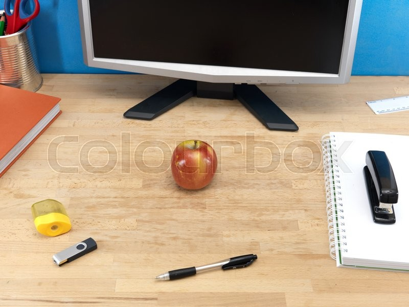 A close up shot of a work station, stock photo