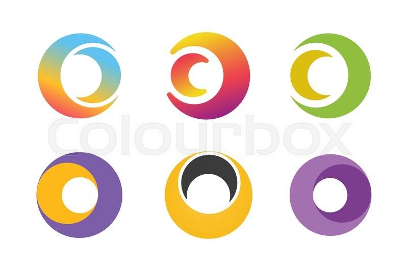 Vector circle ring logo design set. Abstract flow logo template ...