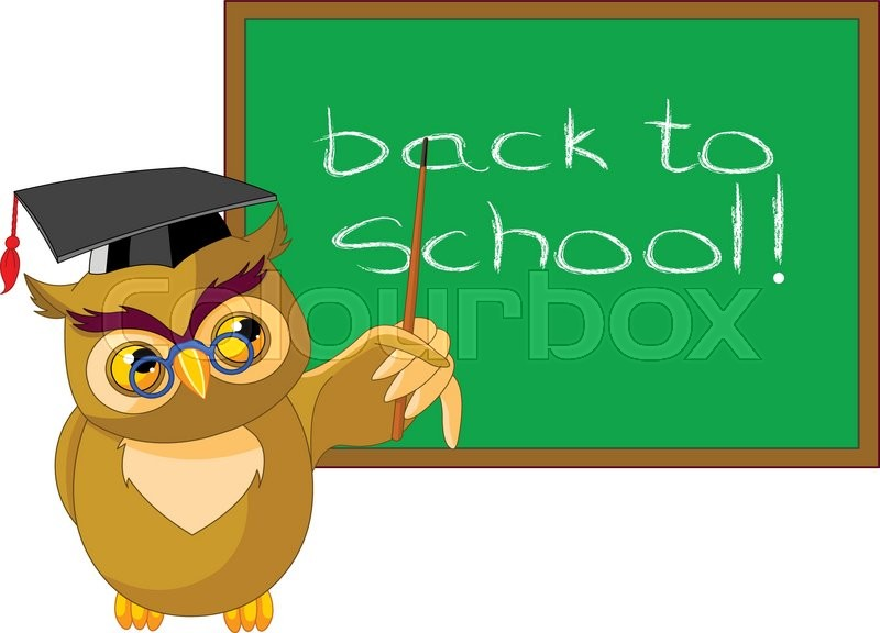 Illustration Of A Wise Owl And Chalkboard