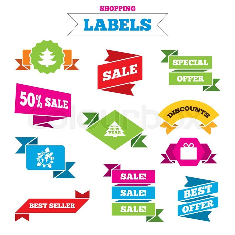 sale shopping labels happy new year icon christmas trees and gift box signs world globe symbol best special offer vector stock vector colourbox
