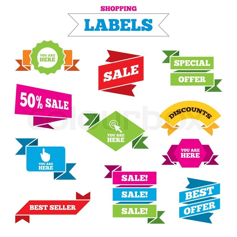 Sale Shopping Labels You Are Here Icons Info Speech Bubble Symbol