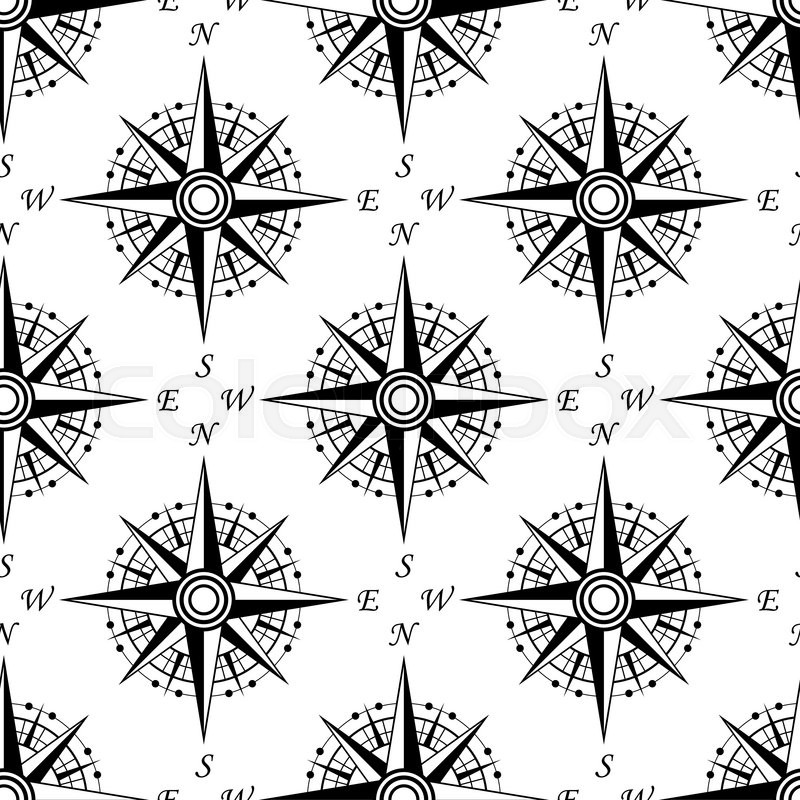 Black And White Nautical Compass Seamless Pattern With Vintage Dials For Marine Background Or Wallpaper Design