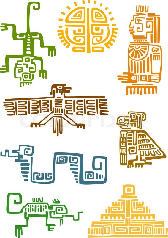 Ancient Aztec And Maya Ornamental Symbols Of Sun God Idol Pyramid