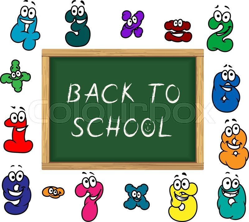 Blackboard With Chalk Text Back To School Encircled By Funny Cartoon