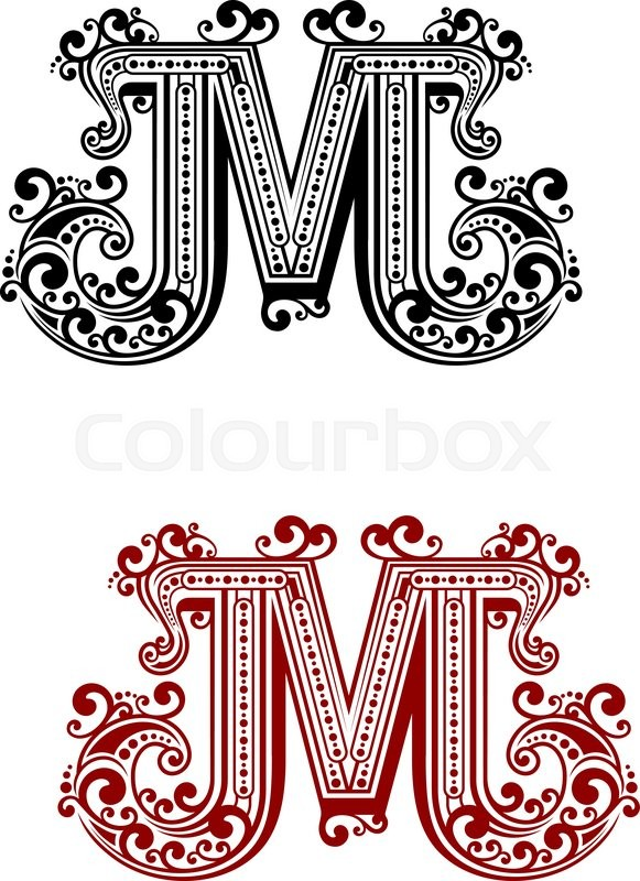 Uppercase letter m decorated with calligraphic swirl for Decoration 9 letters