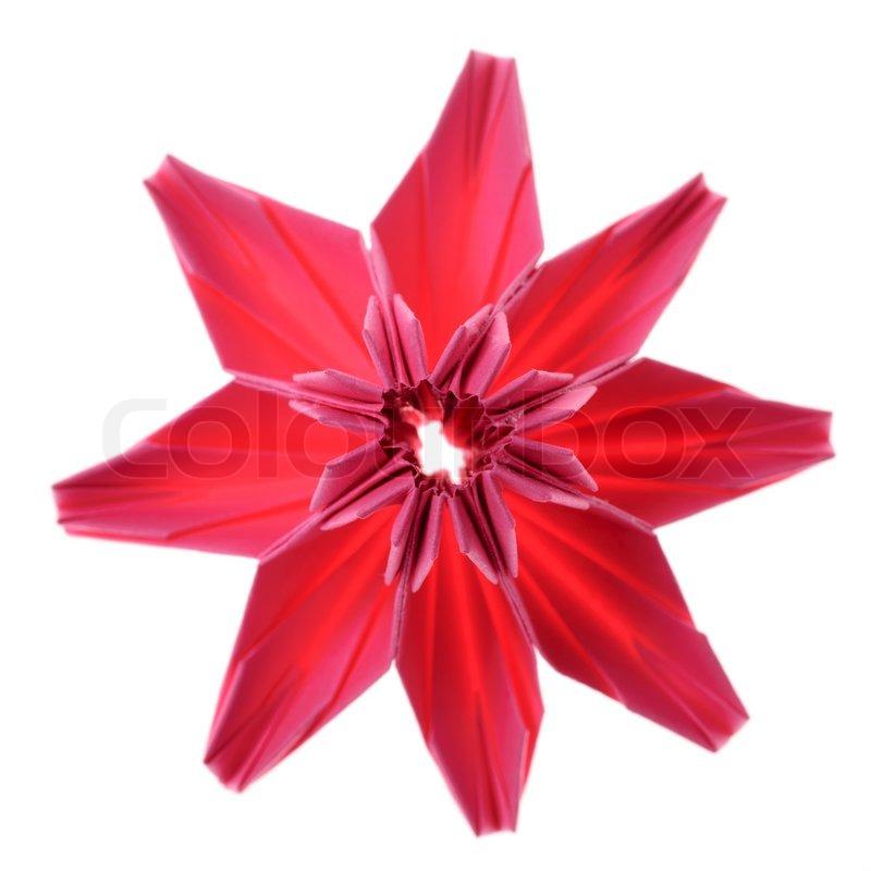 Origami Blume aus rosa Papier isoliert auf weiß  StockFoto