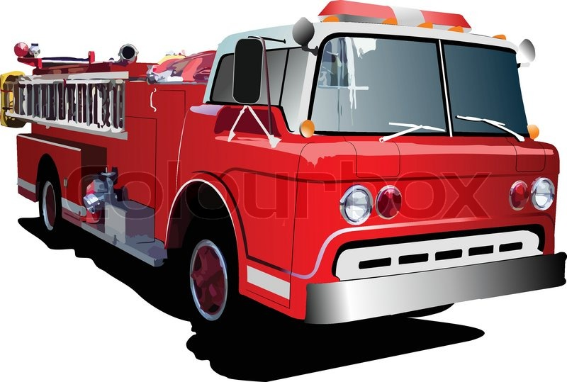 fire engine ladder isolated on background vector illustration rh colourbox com fire truck vector clipart fire truck vector image