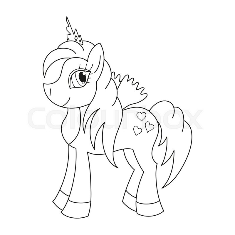 Vector illustration of cute horse princess, royal pony with a ...