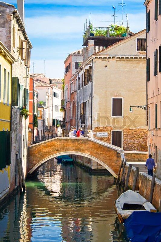 Bridge Over A Canal In Venice Italy Stock Photo Colourbox