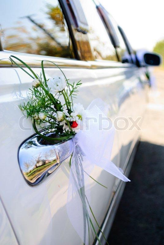 Luxus Hochzeit Auto Mit Blumen Geschmückt Selektiven Fokus