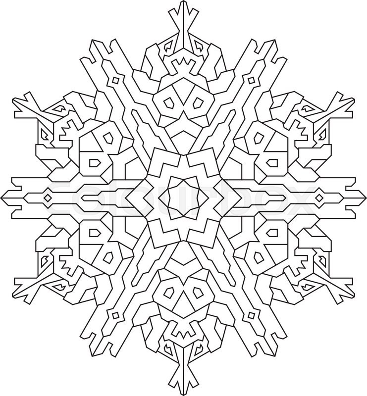 Outlines of snowflake in mono line style for coloring, coloring ...