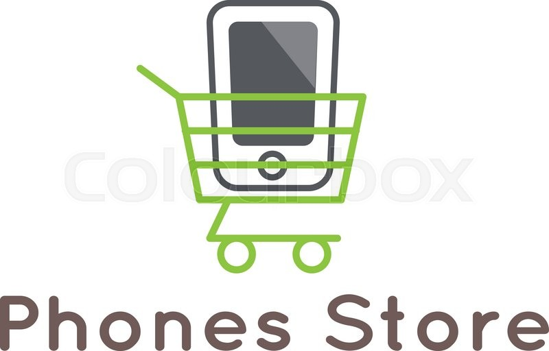 vector modern mobile phones store logotype smartphone in the shopping cart logo stock vector. Black Bedroom Furniture Sets. Home Design Ideas