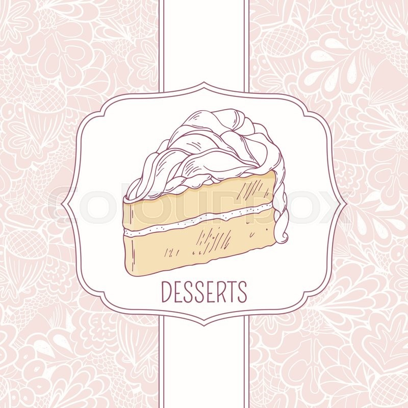 dessert menu template with sweet cake and doodle pattern in vector design for cafe or pastry. Black Bedroom Furniture Sets. Home Design Ideas