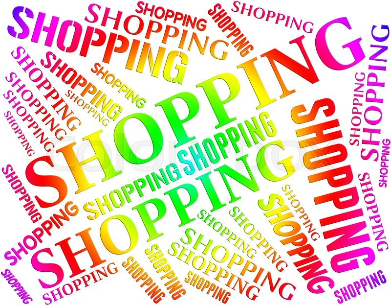 Shopping Word Indicates Commercial Activity And Buying, stock photo