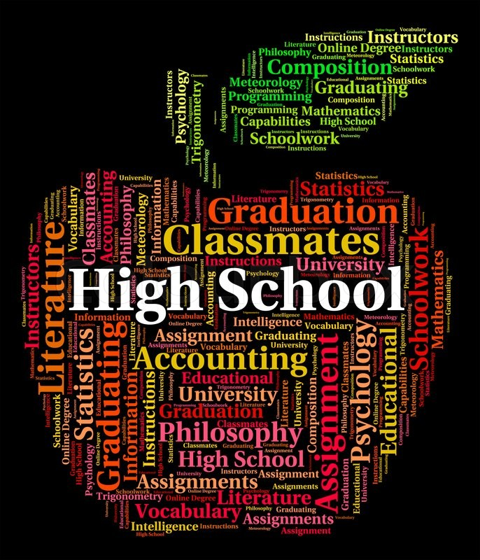 Stock image of 'High School Showing Colleges College And Words'