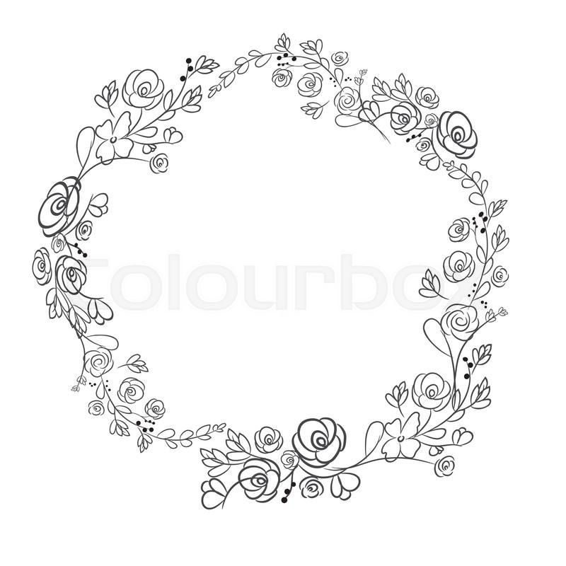 Spring flower wreath laurel branches vector hand drawn design spring flower wreath laurel branches vector hand drawn design elements stock vector colourbox mightylinksfo