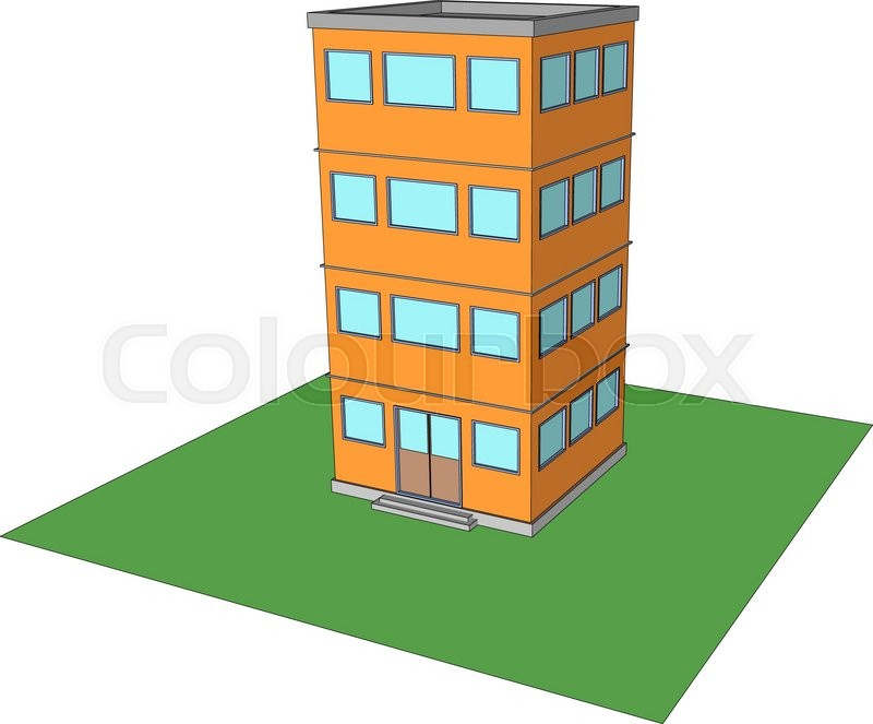 Modern Office Building Vector Four Floors 1 Stock Vector