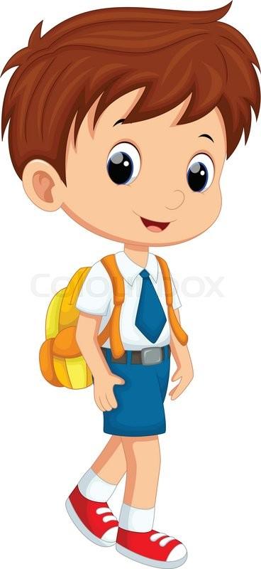 Illustration of cute girl in uniform going to school - Cartoon boy wallpaper ...