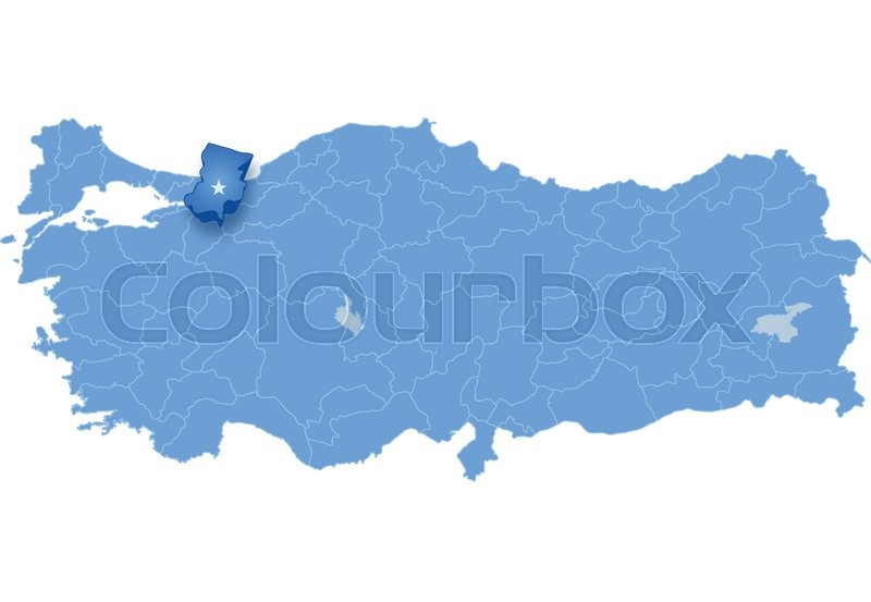 Map of Turkey where Sakarya province is pulled out isolated on