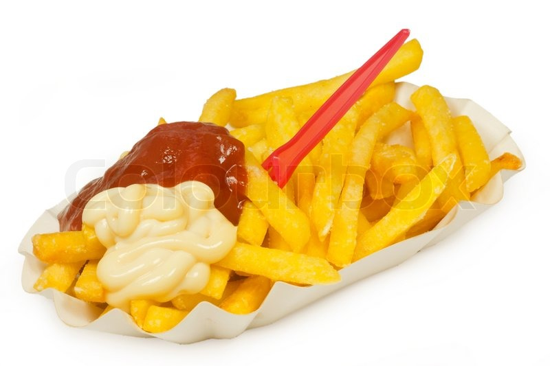 French Fries On A Paper Plate On Bright Background Stock