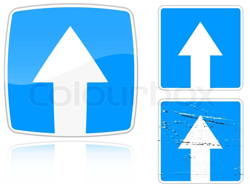 Set Of Variants A Road With One Way Traffic Road Sign Isolated On