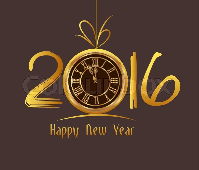 Happy New Year 2016 - Old clock, vector