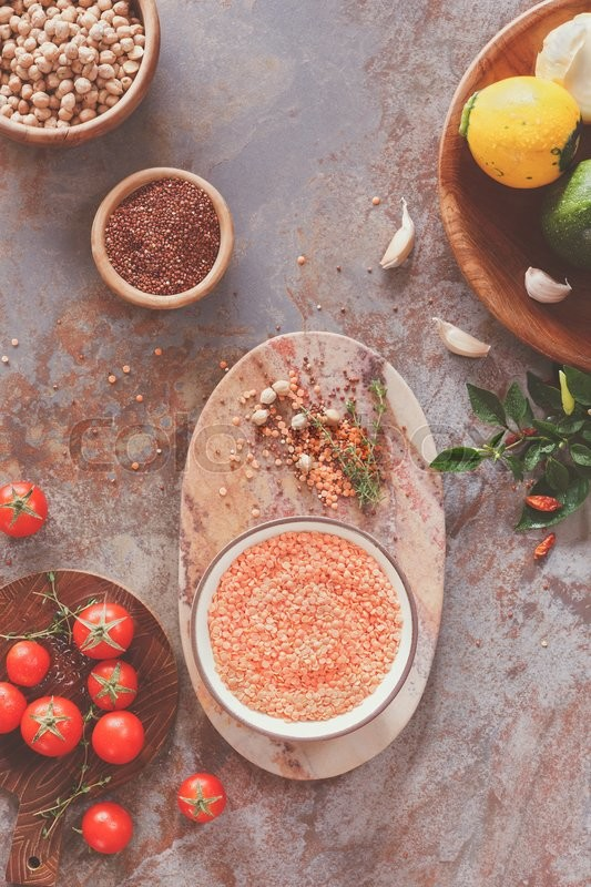 of 'Lentil soup ingredients. Red lentil soup with chickpeas, zucchini ...