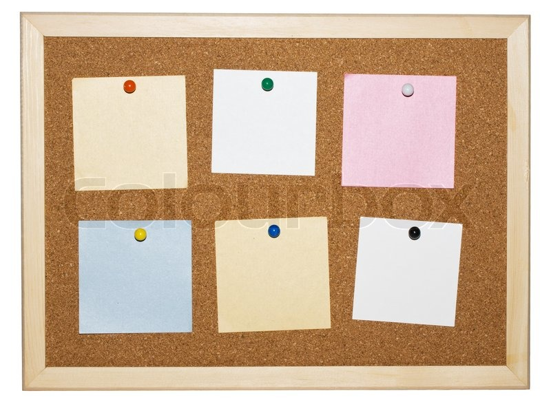 Cork Memo Board Background With Notes Stock Image