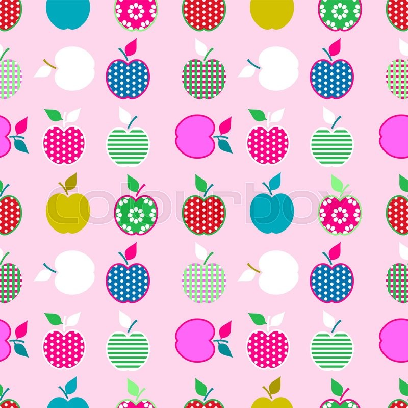 Baby And Kids Pattern With Apples Stock Vector Colourbox