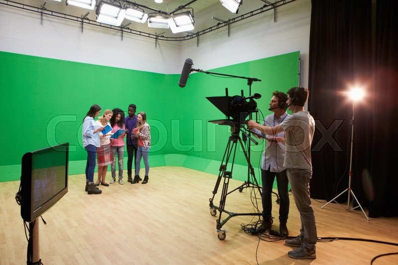 Students On Media Studies Course In TV Studio, stock photo