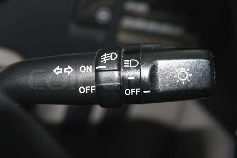 The Switch Of Turn And Light Of Headlights Of The Car On A