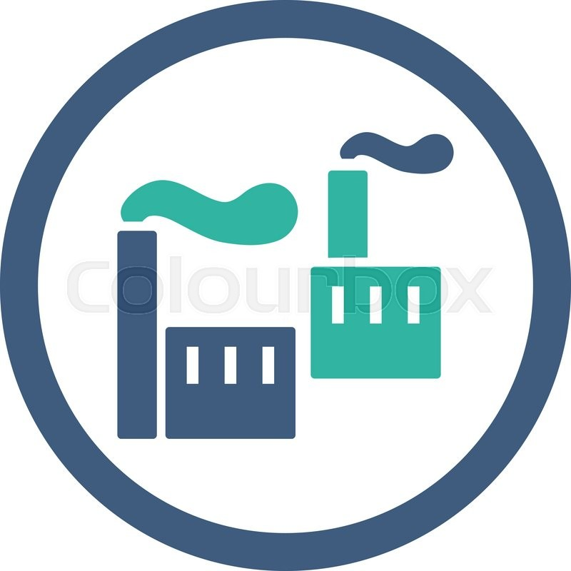 Industry Vector Icon This Rounded Flat Symbol Is Drawn With Cobalt