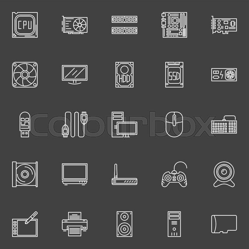 Computer Components Icons Vector Collection Of Pc Symbols Of Cpu