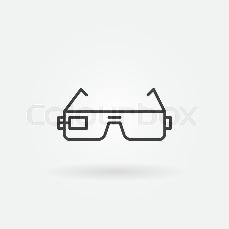 Smart Glasses Icon Or Logo Vector Black Thin Line Symbol Stock