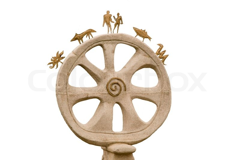 Stock image of 'The stone wheel and ornament on a white background'