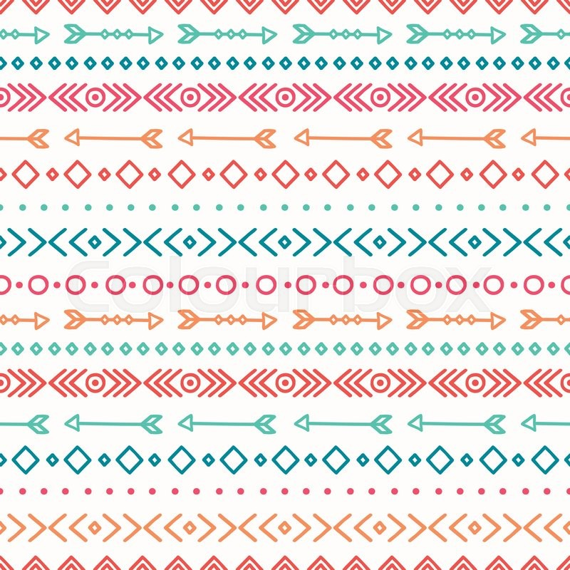 Hand Drawn Geometric Ethnic Seamless Pattern Wrapping
