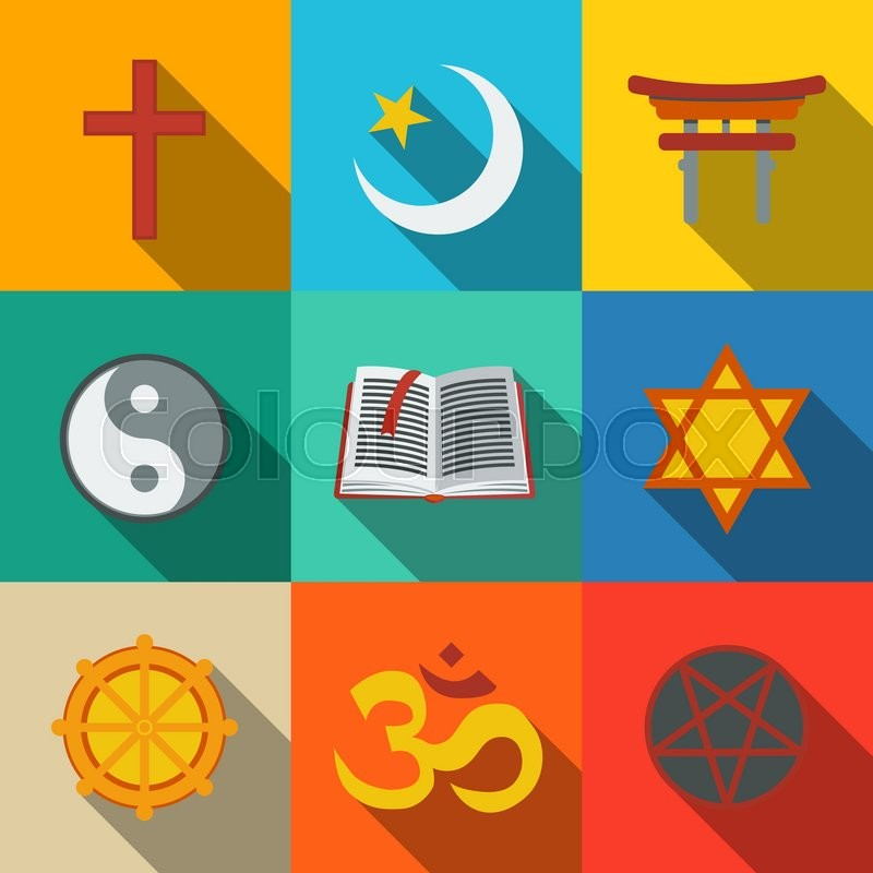 World Religion Symbols Flat Set With Christian And Jewish Islam