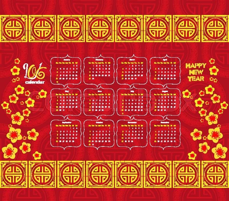calendar 2016 chinese new year cherry blossom stock vector colourbox - Chinese New Year 2016 Calendar