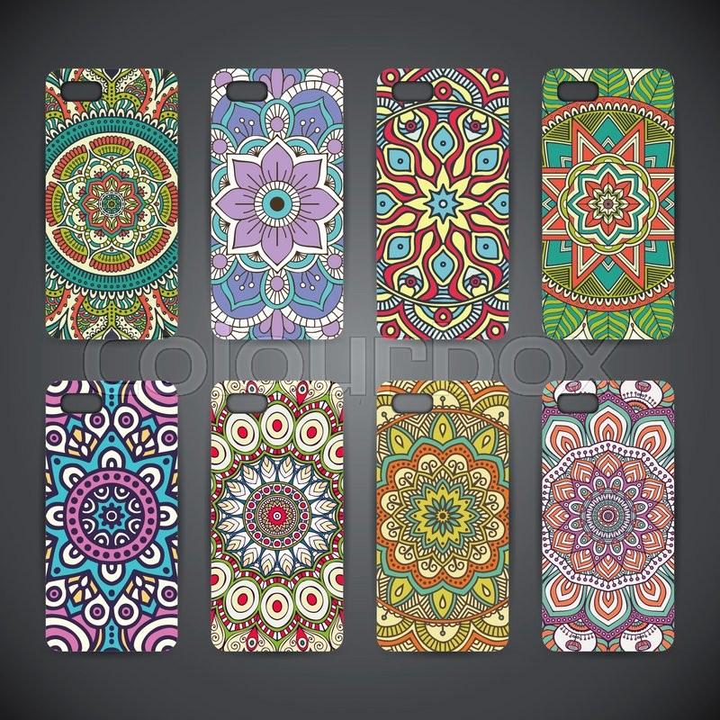 Case Design phone case patterns : Phone case, colorful floral pattern. Vector background. Vintage ...
