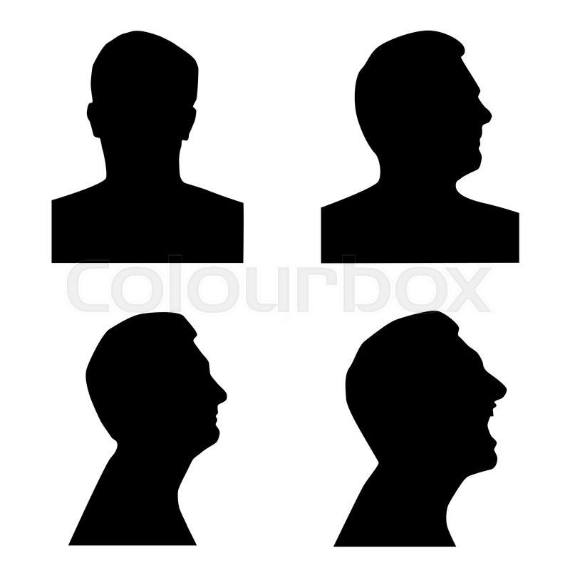 profile silhouette set man head in stock vector