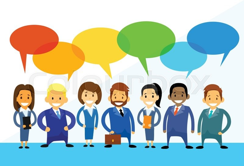 business cartoon people group talking discussing chat communication
