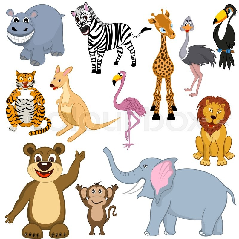 set of 12 cartoon animals ready for use in zoo theme stock vector colourbox - Images Cartoon Animals