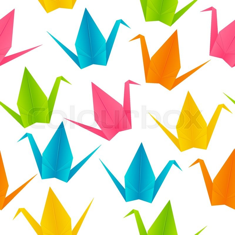 Seamless Pattern With Origami Cranes Stock Vector Colourbox