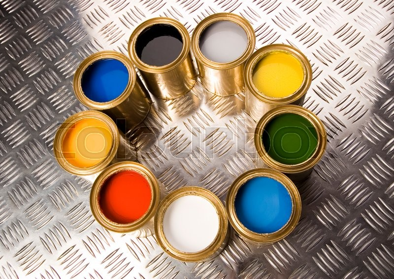 Paint, cans, brush, bright colorful tone concept, stock photo
