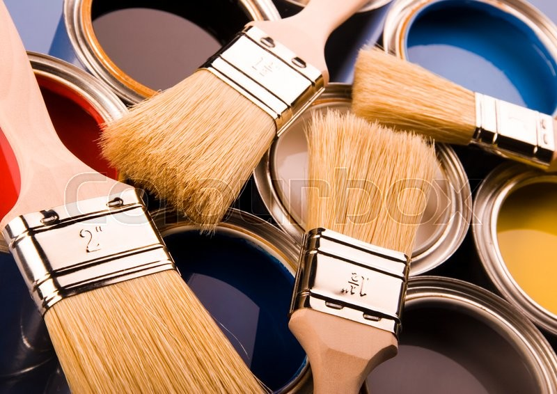 Brush and paint samples, bright colorful tone concept, stock photo