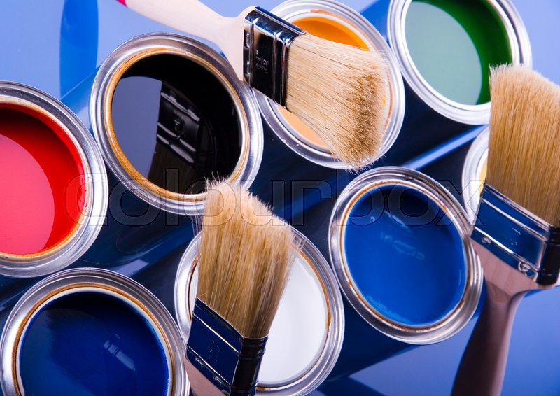 Colorful cans and paints, bright colorful tone concept, stock photo