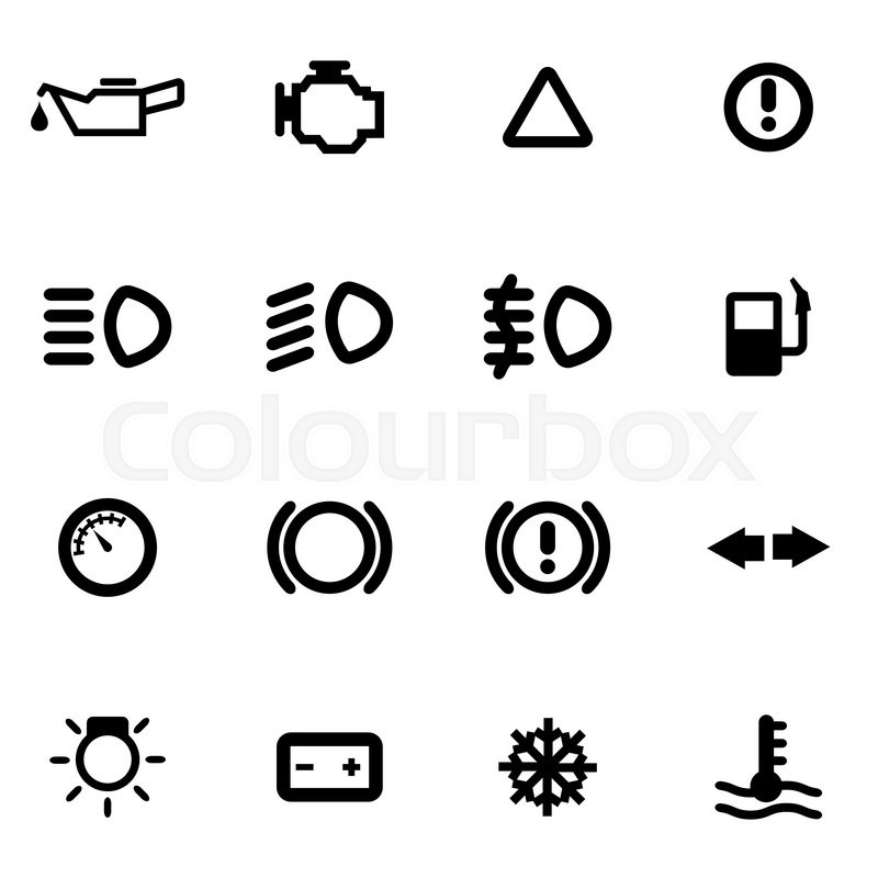 vector black car dashboard icon set on white background